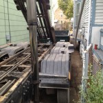 Another example of our driver's abilities to position the dumpster exactly where you want it on your property.